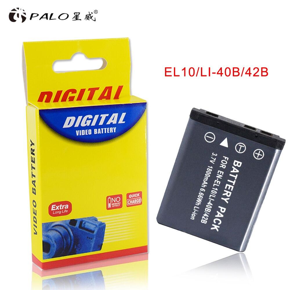 PALO 1PCS 1800mAh EN-EL10 EN EL10 LI-42B Li-40B LI42B 40B Camera Battery for nikon OLYMPUS U700 U710 FE230 FE340 FE290 FE360