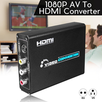 DC5V 1080P HD AV to HDMI Converter 3RCA AV CVBS Composite S Video R/L Audio To HDMI Converter Adapter EU/US Plug