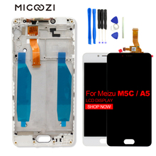 For Meizu M5C LCD Display Touch Screen with Frame Replacement 5.0 inch Assembly for A5 Black White