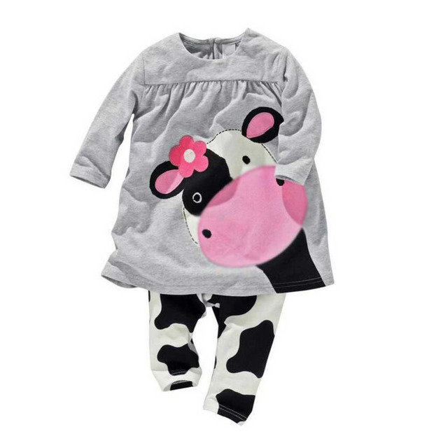 f2e17aad77 Autumn Winter Baby Girl Clothes O neck Milk Cow Print Long Sleeve Shirts  Blouse Tops +Cute Dairy cow pants Kids clothing sets-in Clothing Sets from  Mother ...