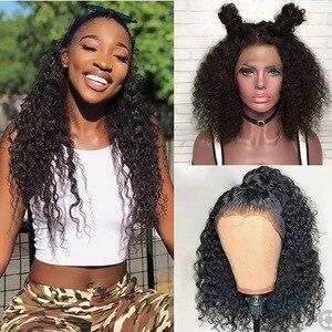 Image 5 - Ali Grace perulu 13x6 13X4 dantel ön peruk bebek saç ile Kinky kıvırcık dantel ön İnsan saç peruk doğal renk 360 Frontal peruk