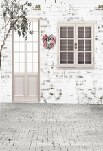 Laeacco White Brick House Window Flowers Tree Floor Photo Backgrounds Customized Photographic Backdrops For Studio