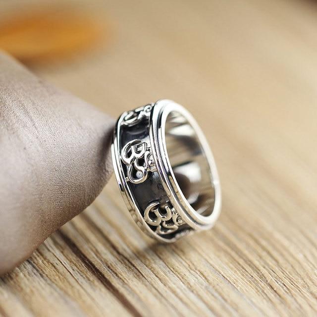 925 Sterling Silver Tibetan Buddhist Om Ohm Spinning Band Ring Men Women A3415