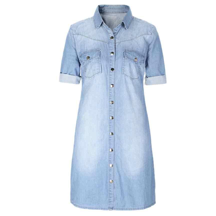 KANCOOLD Платье женское джинсовое свободное платье с большими пуговицами, однотонное мини-платье, длинное женское Повседневное платье с семи рукавами, женское 2018AUG3