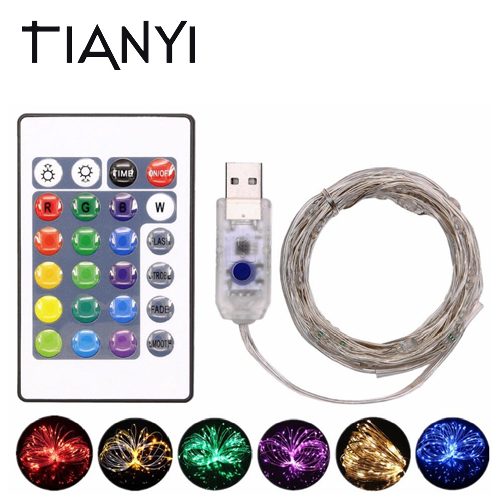 5V USB Fairy Light RGB LED String 5M 50LED Christmas Garland Outdoor LED Lights Decoration Party Wedding Holiday + 24Key Remote fun desk