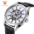 Caliente ouyawei reloj mecánico de los hombres skeleton reloj hombre relojes de cuero relogio masculino moda casual reloj de pulsera de lujo