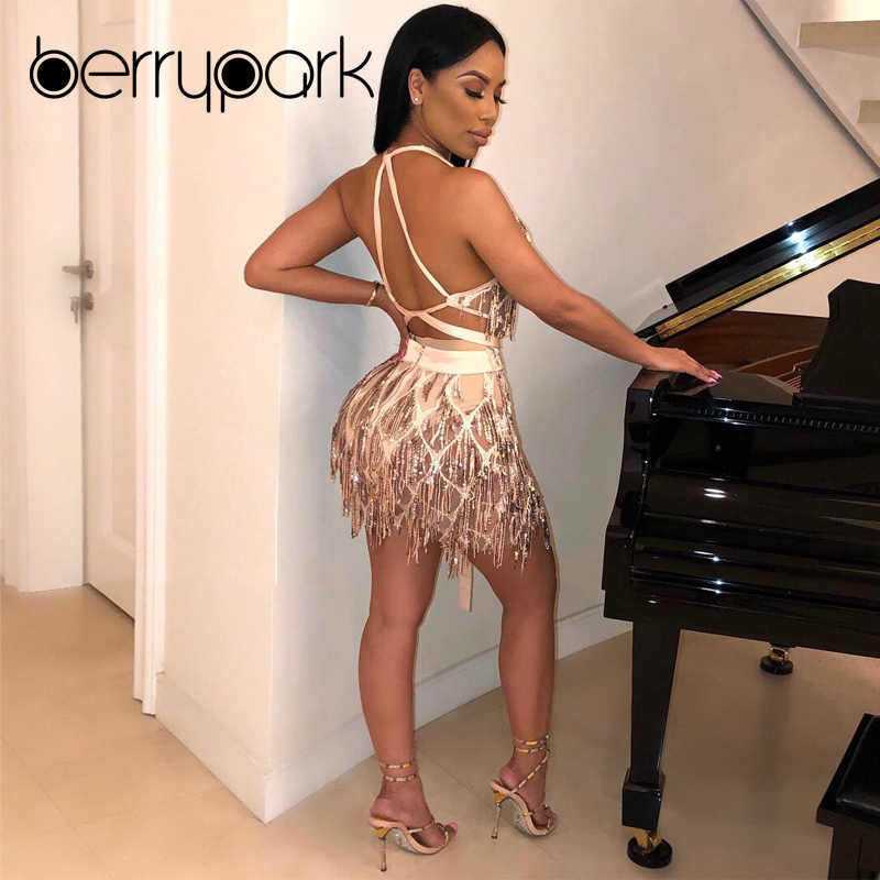 088dbe9f388 ... BerryPark High Quality Party Club Sexy Dress 2019 New Gold Sequin Tassel  Crop Top + Skirt ...
