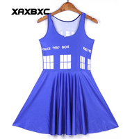 NEW 1263 Sexy Girl Women Summer Time lord tardis Blue 3D Digital Prints Reversible Sleeveless Skater Pleated Dress