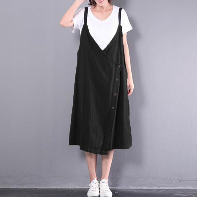 Plus Size 2018 Zanzea Retro Women Spaghetti Straps Back V Buttons Down Baggy Dungarees Casual Cotton Linen Midi Dress Vestido