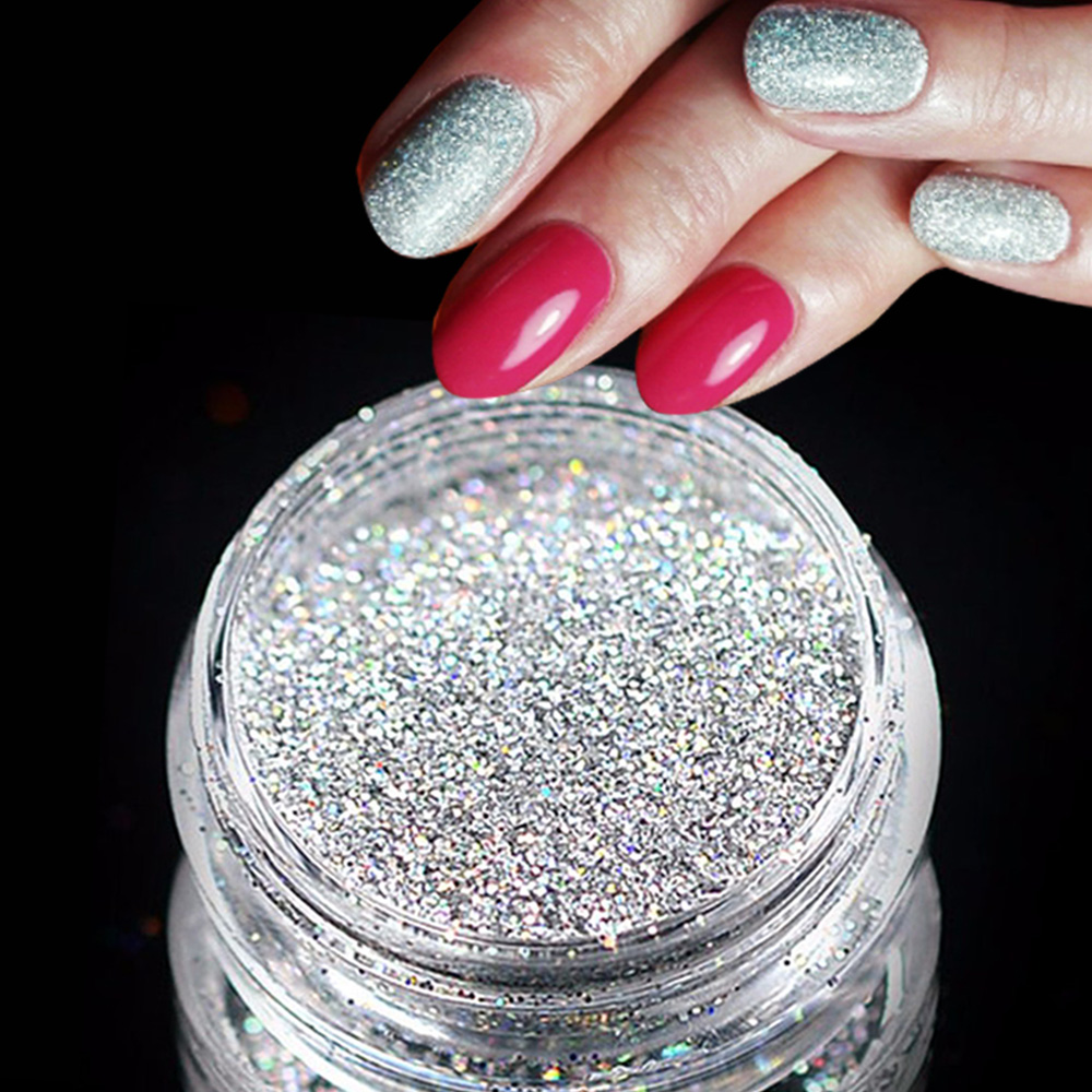 3g Jar Holographic Laser Silver Color Shining Nail Glitter Dust ...