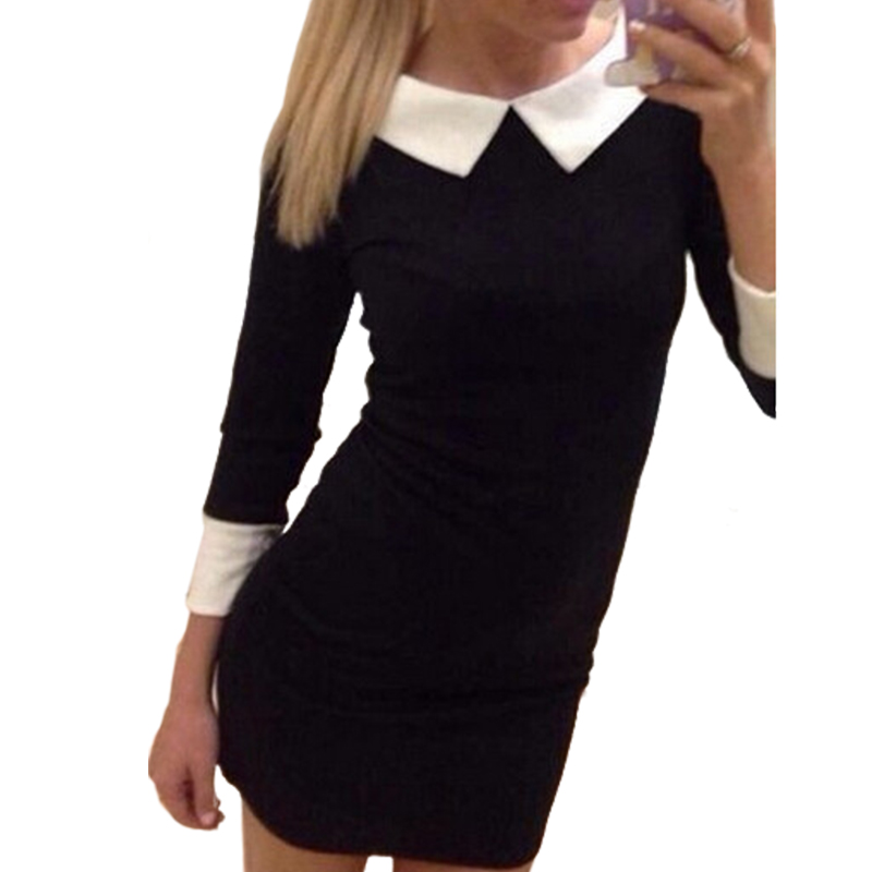Clearance Sale Fashion Casual Solid Long Sleeve Turn-down Collar Slim Fit Dress Black Red Purple  Women