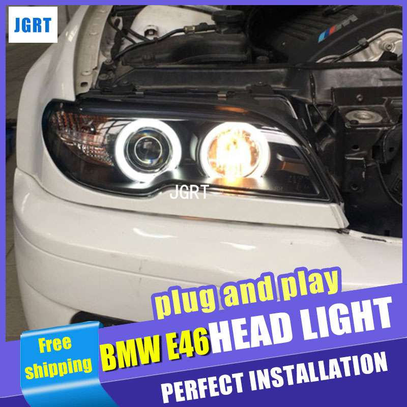 Car Styling  Headlights 2004-2006 for BMW E46 DoubleU Angel Eye LED DRL Lens Double Beam H7 HID Xenon bi xenon lens hireno car styling headlamp for 2004 2008 peugeot 206 headlight assembly led drl angel lens double beam hid xenon 2pcs