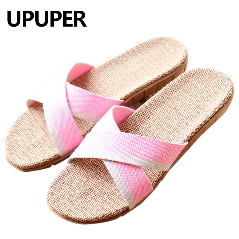 2018 Summer Women Slippers Flax Sweat-absorbent Breathable Linen Flat Womens Indoor Slippers Women Fashion Slides Chausson Femme coolsa women s summer flat non slip linen slippers indoor breathable flip flops women s brand stripe flax slippers women slides