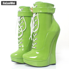 jialuowei Women Sexy Fetish Super High 18cm Super Wedge Heel Pointed Toe Zipper Cross-tied Ankle BALLET Boots Plus Size(China)