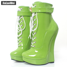 2017 Summer New Arrive Sexy Fetish Super High 18cm Wedge Heel Pointed Toe Zipper Cross-tied Ankle BALLET Boots
