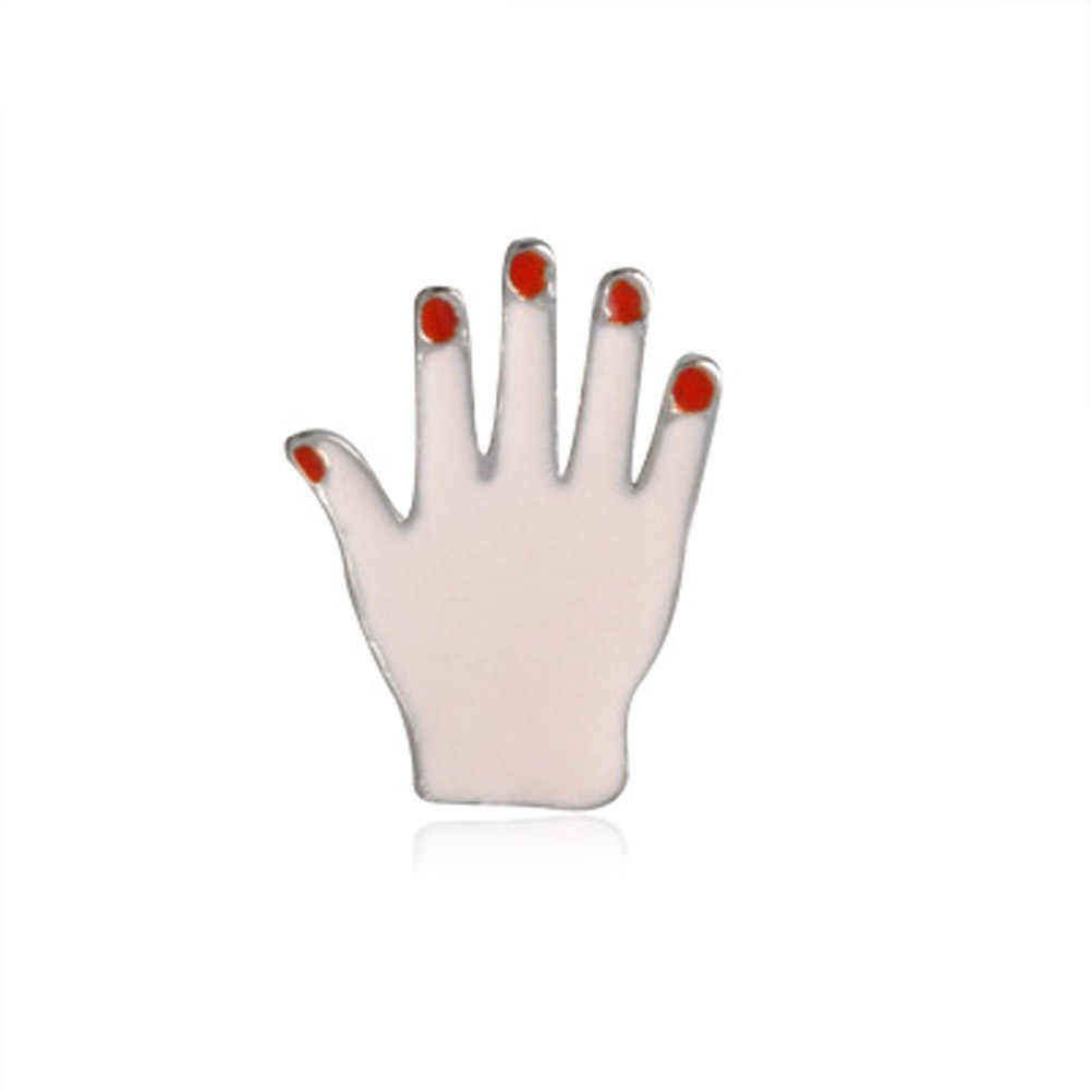 1 PC Seksi Merah Bibir Mata Tangan Lucu Enamel Pin Set Bros Set Kerah Pin Set untuk Jeans Topi Lencana