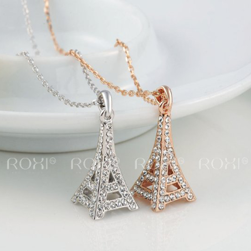 2017 ROXI Eiffel Tower Necklaces Charms Colorful Chains White/Rose Gold Color Wedding Pendant Jewelry Mother's Gift TOP Quality