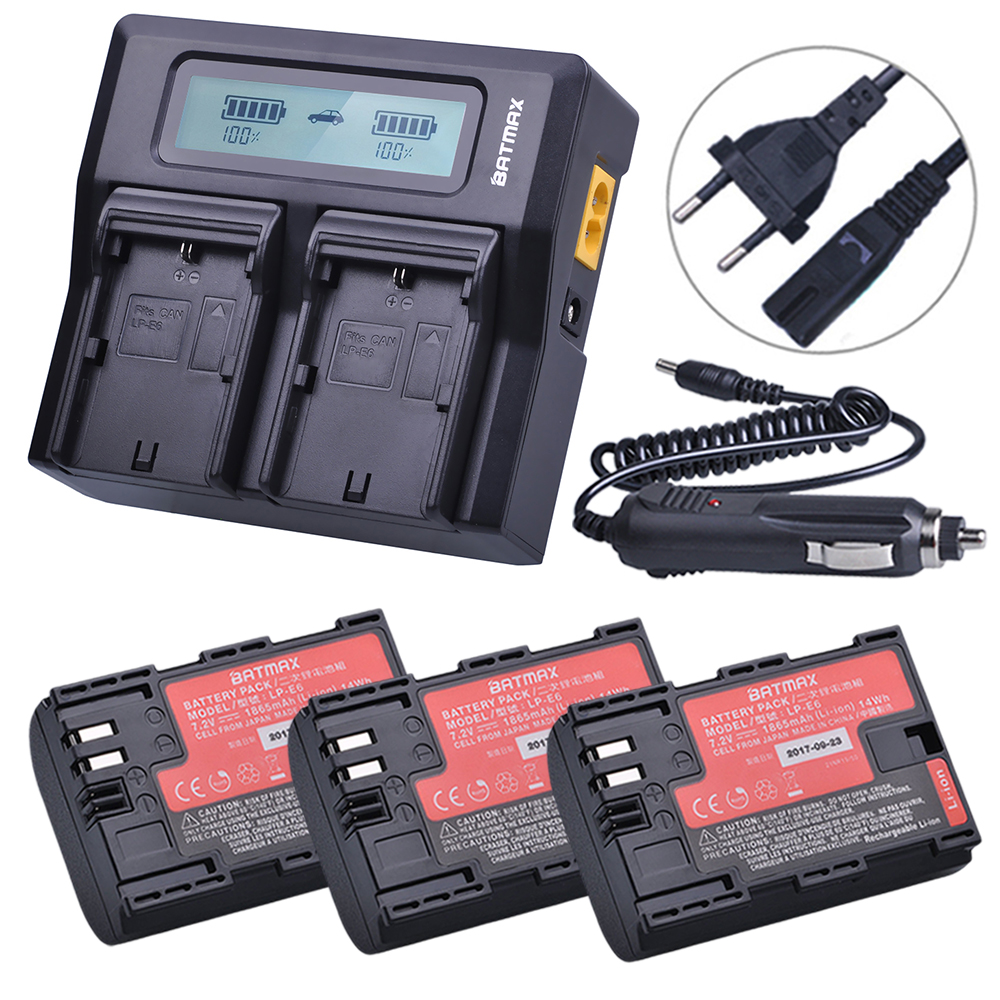 3Pcs Sanyo Cell LP-E6 LP E6 LP-E6N Battery + Rapid LCD Dual Charger for Canon EOS 5DS 5D Mark II Mark III 6D 7D 60D 60Da 70D 80D dste lp e6 7 4v 2600mah decoded li ion battery for e0s 5d mark ii e0s 5d mark iii more black