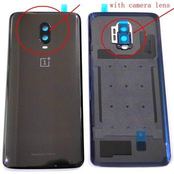 ل oneplus 6T البطارية الغلاف الخلفي الباب الخلفي الإسكان ل oneplus 6 T عودة الإطار استبدال الزجاج قطع الغيار مع كاميرا عدسة