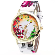New Christmas Elderly And Tree Pattern Watch Male Female Watch Leather Band Analog Quartz Wrist Watches Clock Relogio White(China)