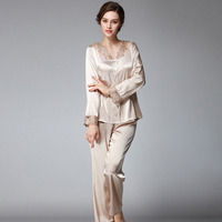 Ladies Pajama Sets 2 Pieces Sets Silk Women Pyjama Autumn Pijama Elegant Lace Women Sleepwear Long Sleeve Pants Nightwear