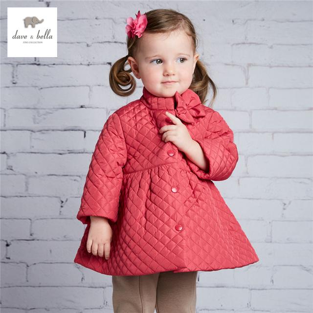 DB3651 dave bella bebê meninas outerwear subiu jaqueta acolchoada