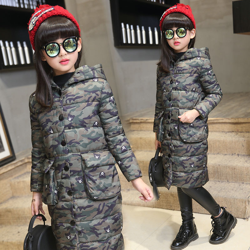 Children's Winter Thickening Cotton-Padded ClothesLlong Camouflage Coat Edition Girls Children's Wear 90% White Duck Down Jacket south korean female lovely long section of camouflage coat loose hooded feather padded knee thickening students winter coat