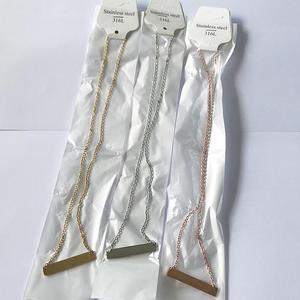 Image 3 - DHL משלוח חינם 300 יח\חבילה 316L נירוסטה מראה פולני בר שרשרת אופנה יוניסקס קולר שרשרת 45cm אורך 18 אינץ