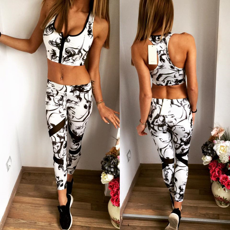 c16f5622475 Summer Sport Suit 2 Piece Set Sports Tank Tops With Zipper Bra+sport  Leggings Yoga fitness female white floral tracksuit women