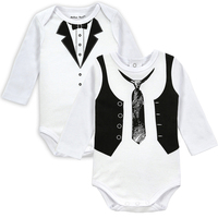 2pcs Lot New Baby Long Sleeve Newborn Infant Bodysuit Boy Gentleman Tie Body Clothes Cute Boys