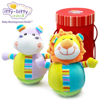 Itty Bitty Roly Poly Pal Lion Hippo Elephant Giraffe Soft Wobbling Chiming Infant Baby Toys
