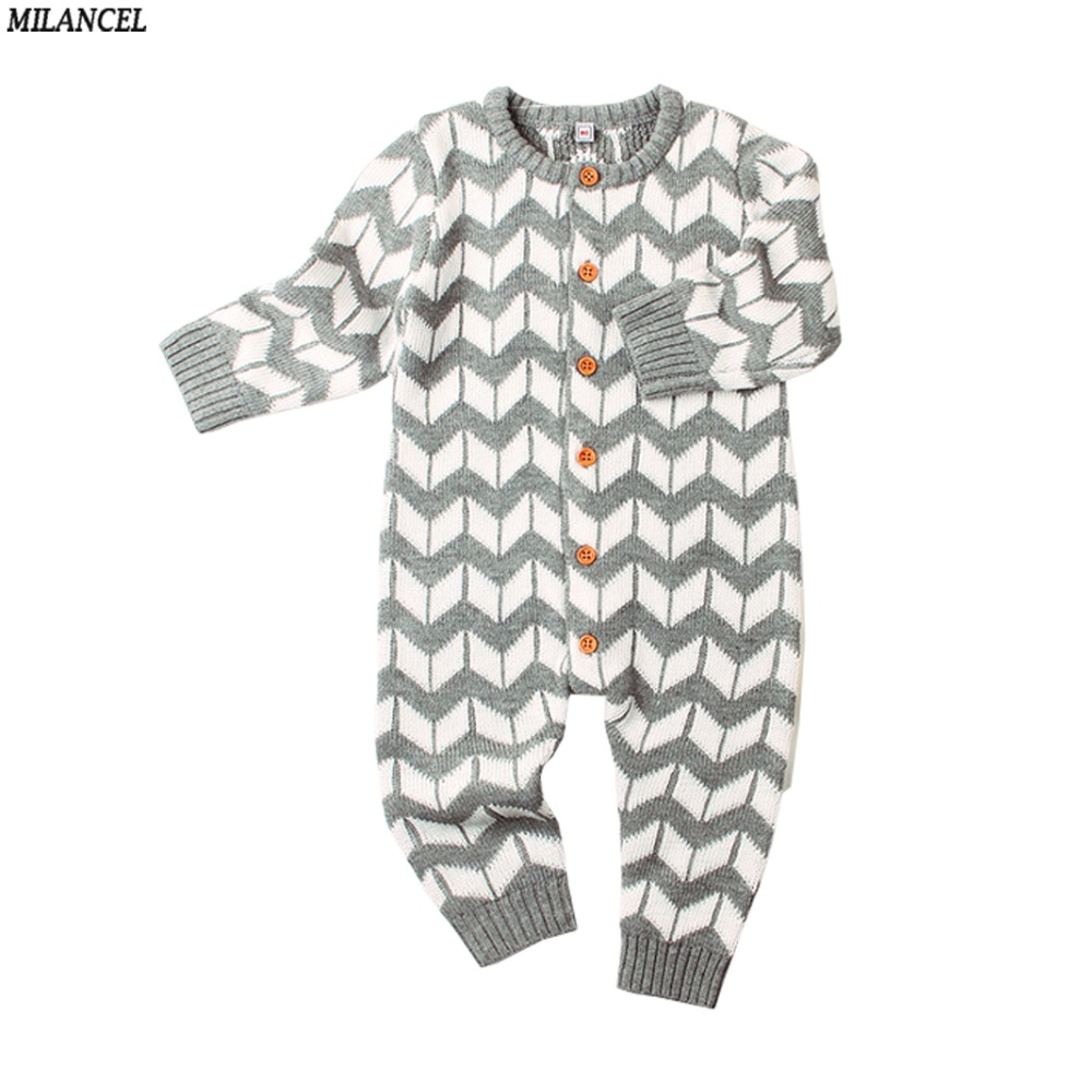 MILANCEL 2018 Girls Rompers Knitted Baby Boys Rompers Casual Baby Clothing Long Sleeve Boys Jumpsuits Solid Boys Clothes 100%cotton 3pcs lot baby rompers winter long sleeve baby boys clothing solid color o neck jumpsuit baby girls pajamas clothes