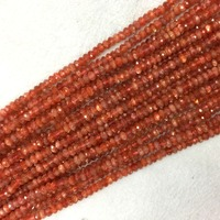 High Quality Natural Genuine Gold Ornage Oligoclase Sanidine Sunstone Hand Cut Loose Gemstone Faceted Rondelle Beads 15 05903