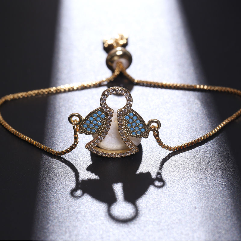 NJ Angel Crown Skeleton Image Women Charm Bracelets Bangles Sun Puzzle Design Adjustable Zircon Silver Chains Jewelry Bracelet in Charm Bracelets from Jewelry Accessories