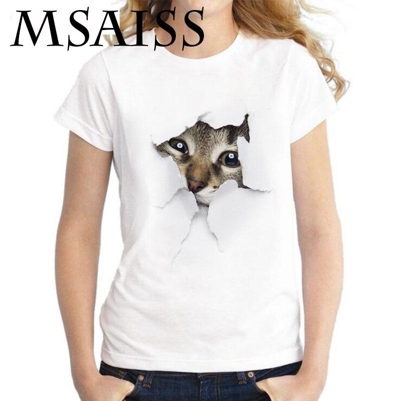 MSAISS Summer Cat 3D Lovely T Shirt Women Printing Originality O-Neck Short Sleeve T-shirt Tops Tee 1