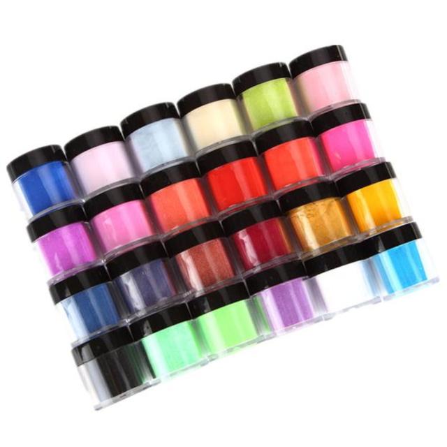 24 Colores de Uñas de Acrílico Arte UV Gel Tips Diseño Tallado En Polvo Polvo Decoración 3D DIY Decoración Set