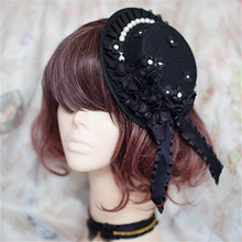 Elegant Women Flower & Pearl Gothic Lolita Mini Boater Hat Hair Accessories
