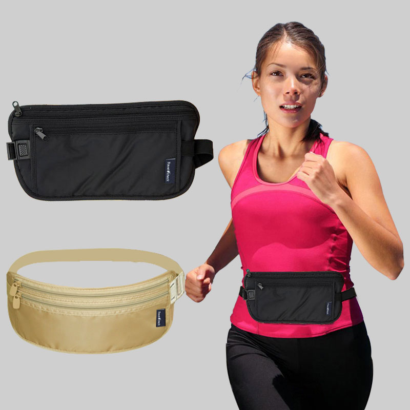 Waist Bag Unisex Slim Waist Pack Anti-theft Passport Cover Card Holder Belt Bag Women Men Tickets Travel Pouch Waterproof
