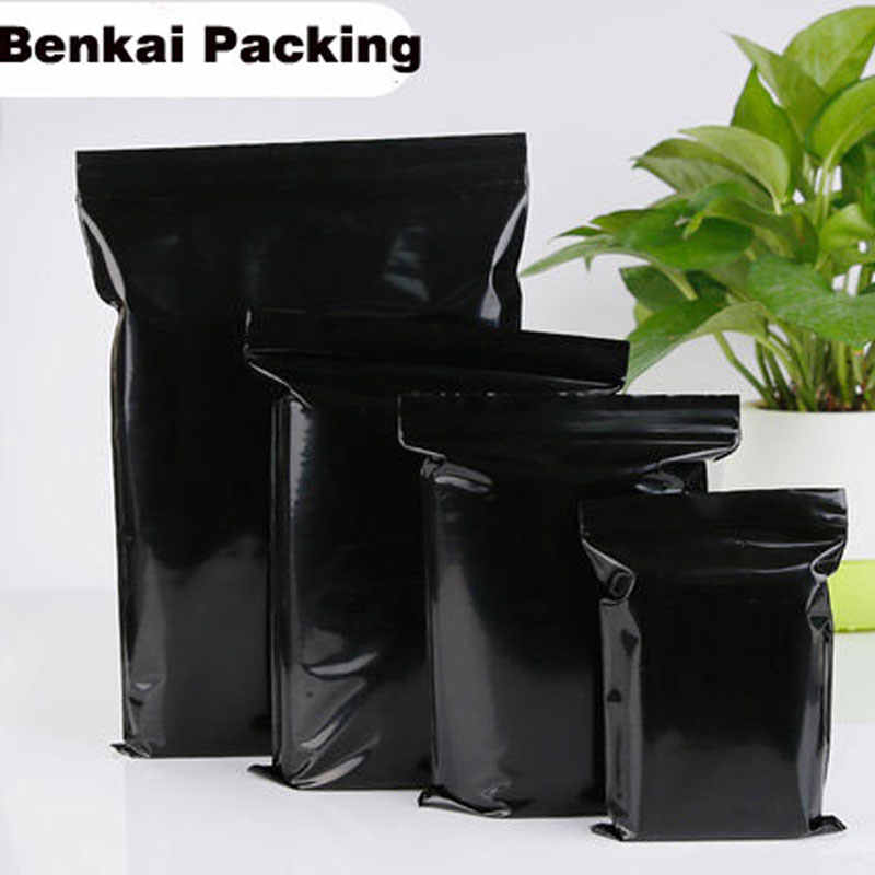 100pcs/Lot New Arrival 12 Wire Black Sealed Bag Self Sealing Plastic Bags Poly Zipper Bags Zipper Lock Storage Bag