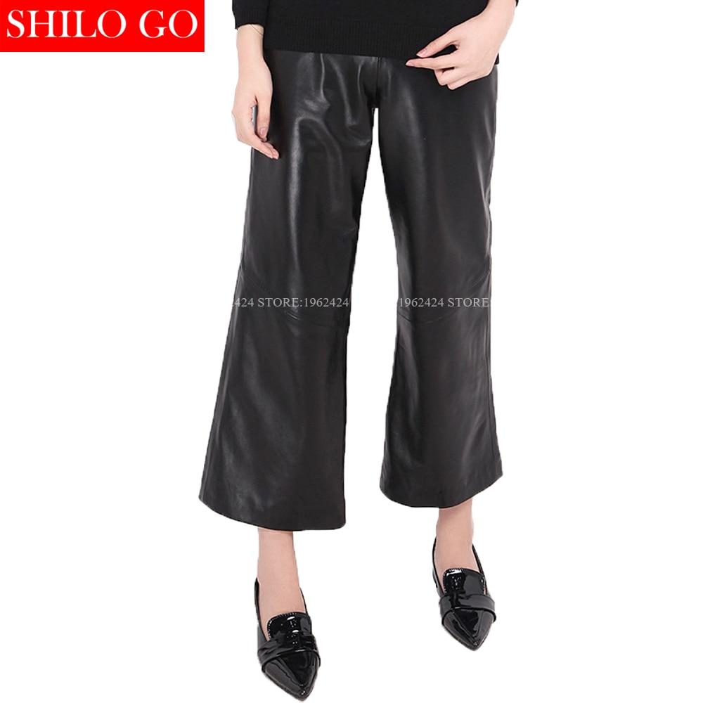 Noir Supérieure Pattes De D'éléphant Taille Haute Mode Cuir En Formelle Qualité Femmes Bureau Véritable Pantalon Nouvelle Pantalons Emprie Peau Mouton Grande Ol g6qnaXa