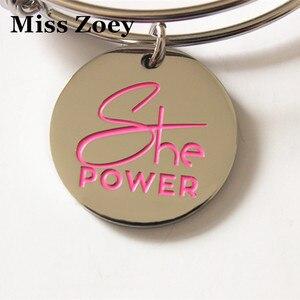 """Image 1 - PBR217(10) 25 มม.""""SHE Power"""" ตัวอักษรพิมพ์มะเร็งเต้านม Awareness Charms จี้ DIY สำหรับสร้อยข้อมือเครื่องประดับเครื่องประดับ"""