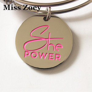 """Image 1 - PBR217(10), 25mm """"She Power"""" Letters Printed Breast Cancer Awareness Enamel Charms Pendents DIY For Bracelet Jewelry Accessory"""