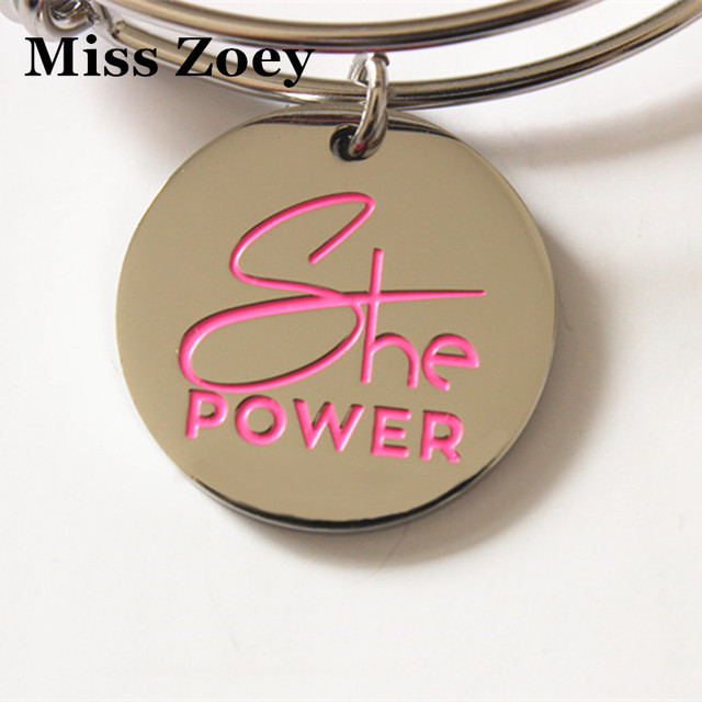 """PBR217(10), 25mm """"She Power"""" Letters Printed Breast Cancer Awareness Enamel Charms Pendents DIY For Bracelet Jewelry Accessory"""
