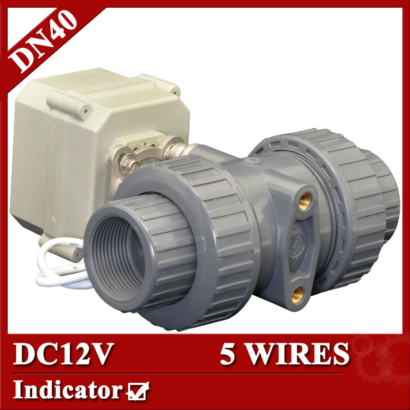 1 1/2 DC12V Plastic automated ball valve,5 wires control(CR501) PVC ball valve,DN40 electric ball valve 3 4 ac dc9 24v pvc u motorized valve 5 wires control cr502 electric water valve dn20 plastic ball valve power off return