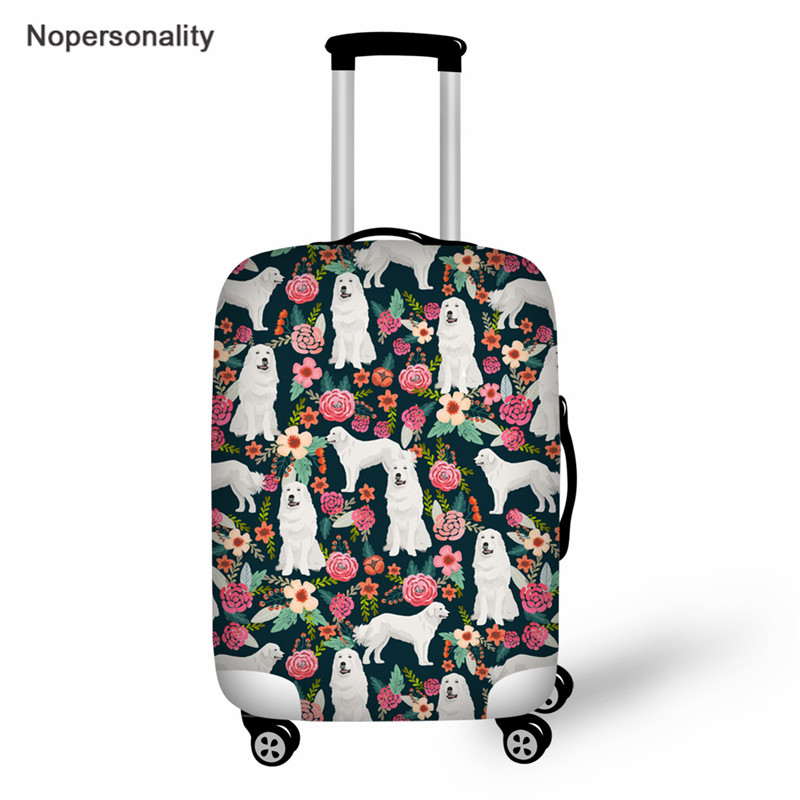 Nopersonality Pyrenees Dog Print Cute Suitcase Protective Covers Flower Dog Travel Luggage Cover Dustproof Covers For 18-30 Inch