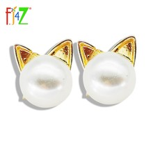 2015 christmas gifts fashion designer cheap golden alloy faux pearl cat head mini ear stud earring for women bijoux brincos(China)