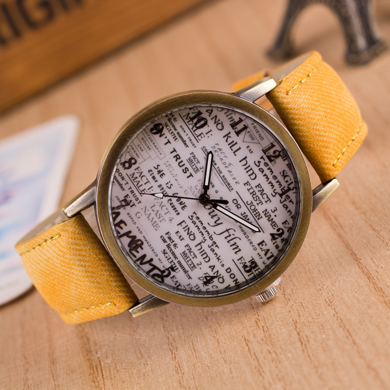 2019 Newspaper Antique Watches Women Men Fashion Leather Sport Quartz Watch Ladies Male Casual Analog Dress Wristwatches Clock in Women 39 s Watches from Watches