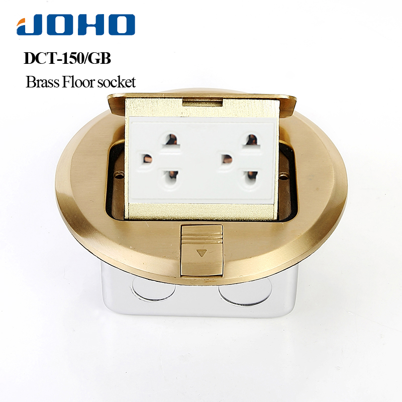 JOHO Brass Alloy Socket  Round Type Google Home Electrical Floor Boxes For Concrete 15A Double Thailand Socket Pop Up TypeJOHO Brass Alloy Socket  Round Type Google Home Electrical Floor Boxes For Concrete 15A Double Thailand Socket Pop Up Type