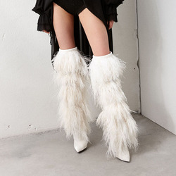 Prova Perfetto Feather Tassel Cover Suede Knee High Boots Runway Shoes Woman Pointy High Heel Leather Long Boots Winter Boots 5