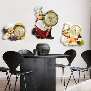 Image 5 - Resin Chef Cute Wall Clock Home Watch Bathroom Kitchen Clock vintage Wall Watches Home Decor Wall Clock Modern Design